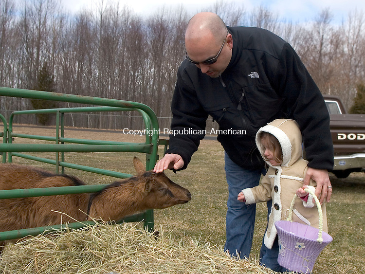 OXFORD, CT - 15 MARCH 2008 - 031508JW03.jpg -- Nelson Novais of Oxford tries to convince his daughter Ava Novais age 2 to pet a goat from Wild Oats Farm before the start of the Easter Egg hunt sponsored by Oxford Park and Recreation Department Saturday afternoon at Great Oak School. Jonathan Wilcox Republican-American
