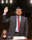 Dr. Christopher Scolese, Director, NASA Goddard Space Flight Center, is sworn-in to testify before the United States Senate Select Committee on Intelligence on his nomination to be the Director of the National Reconnaissance Office (NRO), on Capitol Hill on May 1, 2019<br /> Credit: Ron Sachs / CNP