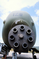 - 30 mm Gatling six barrels gun of an antitank A 10 aircraft on the USA base of  Aviano (Pordenone, Italy), .. it uses deplete uranium armor-piercing ammunitions....- cannone Gatling a sei canne da 30mm di un aereo anticarro A 10 sulla base  USA di Aviano (Pordenone),..utilizza munizioni perforanti all'uranio impoverito....