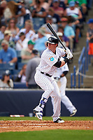 New York Yankees left fielder Ben Gamel (82) at bat during a Spring Training game against the Detroit Tigers on March 2, 2016 at George M. Steinbrenner Field in Tampa, Florida.  New York defeated Detroit 10-9.  (Mike Janes/Four Seam Images)
