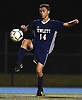 David Abikzer #14 of Hewlett redirects a kick during the second half of a Nassau County Conference A-3 varsity boys soccer game against Jericho at Hewlett High School on Wednesday, Oct. 10, 2018. Hewlett won by a score of 4-2.