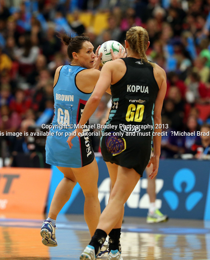02.06.2013 Magic's Casey Kopua and Steel's Jodi Brown in action during the ANZ Champs netball match between the Magic and Steel played at Rotorua Events Centre in Rotorua. Mandatory Photo Credit ©Michael Bradley.