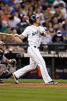 July 5, 2008: Seattle Mariners outfielder Jeremy Reed at-bat against the Detroit Tigers at Safeco Field in Seattle, Washington.