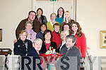 Listowel Writers Group:On the occasion of the ending of a writing course Noreen McElligott presents a bouquet of flowers to course tutor John McGrath..Second row: Beatrice Kelly, Dee Keogh & Marian Relihan. Thitd row: Mamie Kearney, Shahilah Tanjua, Teresa Molyneaux, Winnie Greaney & Anne marie Burke. Back Row : Paddy O'Donnnell, Bernadette O'Neill, Sandra duggan, Patrcia O'Sullivan & Helen Broderick.