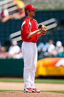 Scott Schneider (29) of the Springfield Cardinals on the mound during a game against the San Antonio Missions on May 30, 2011 at Hammons Field in Springfield, Missouri.  Photo By David Welker/Four Seam Images