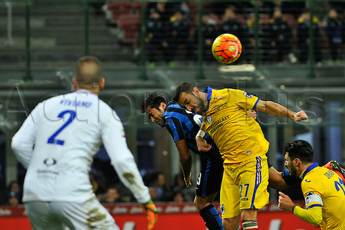 20.02.2016. Milan, Italy.   Eder of FC Inter and Fabio Quagliarella of UC Sampdoria in action during the Italian Serie A League soccer match between Inter Milan and UC Sampdoria at San Siro Stadium in Milan, Italy.