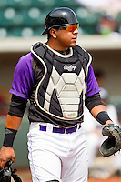 Winston-Salem Dash catcher Miguel Gonzalez #3 on defense against the Potomac Nationals at BB&T Ballpark on April 25, 2012 in Winston-Salem, North Carolina.  The Dash defeated the Nationals 14-0.  (Brian Westerholt/Four Seam Images)