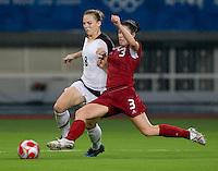 Amy Rodriguez, Emily Zurrer. The USWNT defeated Canada in extra time, 2-1, during the 2008 Beijing Olympics in Shanghai, China.