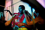 JOHANNESBURG, SOUTH AFRICA OCTOBER 29: Models walking for the Zimbabwean designer label Intisaar waits backstage before a show at Mercedes Benz Africa fashion week Africa on October 29, 2014 held at Melrose Arch in Johannesburg, South Africa. Designers from all over Africa showed their best collections at the yearly event. (Photo by: Per-Anders Pettersson)