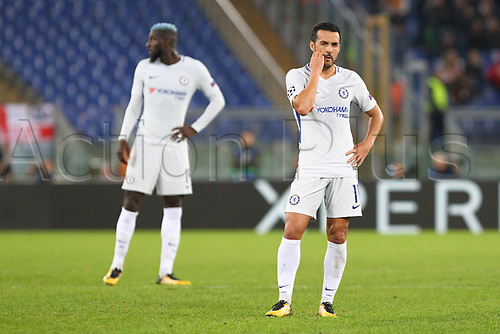 31st October 2017, Stadio Olimpico, Rome, Italy; UEFA Champions League, Roma versus Chelsea; Pedro of Chelsea reacts to the scoreline
