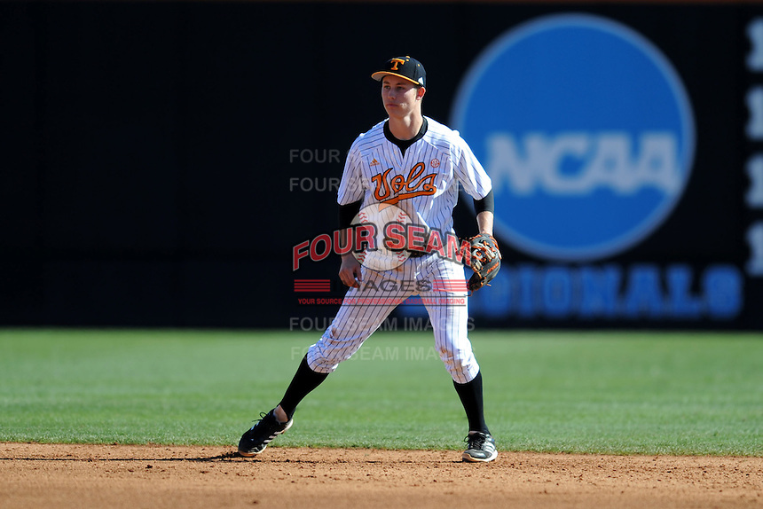 Tennessee Volunteers shortstop A.J. Simcox during a game against the UNLV Runnin' Rebels at Lindsey Nelson Stadium on February 22, 2014 in Knoxville, Tennessee. The Volunteers defeated the Rebels 5-4. (Tony Farlow/Four Seam Images)