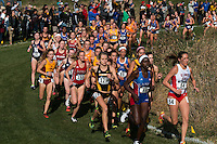 Four Mizzou women run in the race's top 35 competitors including junior Karissa Schweizer (128) just off the lead just before the 2-kilometer mark at the 2016 NCAA Division I Cross Country Midwest Regional in Iowa City Ia. Friday, November 11.