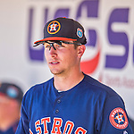 4 March 2016: Houston Astros infielder Alex Bregman awaits the start of play in the dugout prior to a Spring Training pre-season game against the St. Louis Cardinals at Osceola County Stadium in Kissimmee, Florida. The Astros defeated the Cardinals 6-3 in Grapefruit League play. Mandatory Credit: Ed Wolfstein Photo *** RAW (NEF) Image File Available ***