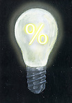 Illustrative image of light bulb with percentage sign representing profitability