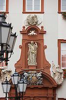 Europe/Allemagne/Bade-Würrtemberg/Heidelberg: détail ancien séminaire des jésuites prés Eglise des Jésuites -Jesuitenkirche- Baroque 18 e s détail façade