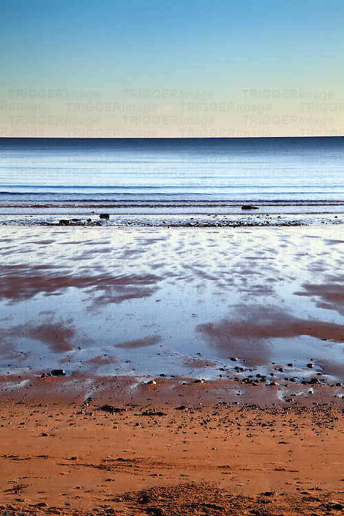 Calm North Sea from East Sands at St Andrews Fife Scotland