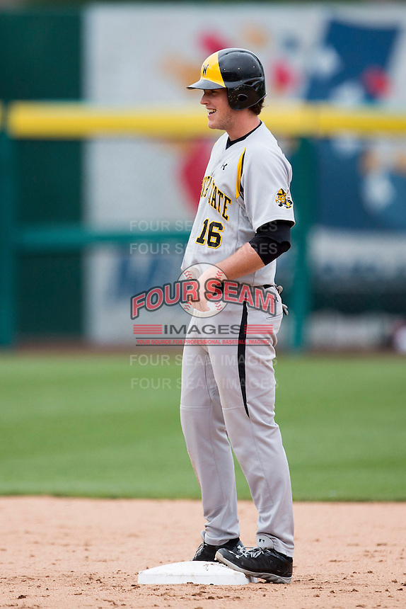 Casey Gillaspie #16 of the Wichita State Shockers stands on second base during a game against the Missouri State Bears at Hammons Field on May 5, 2013 in Springfield, Missouri. (David Welker/Four Seam Images)