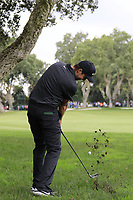Ashley Chesters (ENG) plays his 2nd shot on the 1st hole during Sunday's storm delayed Final Round 3 of the Andalucia Valderrama Masters 2018 hosted by the Sergio Foundation, held at Real Golf de Valderrama, Sotogrande, San Roque, Spain. 21st October 2018.<br /> Picture: Eoin Clarke | Golffile<br /> <br /> <br /> All photos usage must carry mandatory copyright credit (&copy; Golffile | Eoin Clarke)