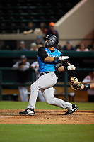 Tampa Tarpons left fielder Tyler Hill (9) at bat during a Florida State League game against the Lakeland Flying Tigers on April 5, 2019 at Publix Field at Joker Marchant Stadium in Lakeland, Florida.  Lakeland defeated Tampa 5-3.  (Mike Janes/Four Seam Images)