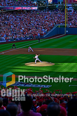 11 October 2012: A Washington Nationals sellout crowd of 44,392 cheer for starting pitcher Ross Detwiler during Postseason Playoff Game 4 of the National League Divisional Series against the St. Louis Cardinals at Nationals Park in Washington, DC. The Nationals defeated the Cardinals 2-1 on a 9th inning, walk-off solo home run by Jayson Werth, tying the Series at 2 games apiece. Mandatory Credit: Ed Wolfstein Photo