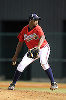 Atlanta Braves pitcher Mauricio Cabrera #73 during an Instructional League game against the Houston Astros at Wide World of Sports on September 28, 2011 in Kissimmee, Florida.  (Mike Janes/Four Seam Images)