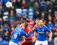 Brandon Hanlan of Gillingham wins a header during Portsmouth vs Gillingham, Sky Bet EFL League 1 Football at Fratton Park on 12th October 2019