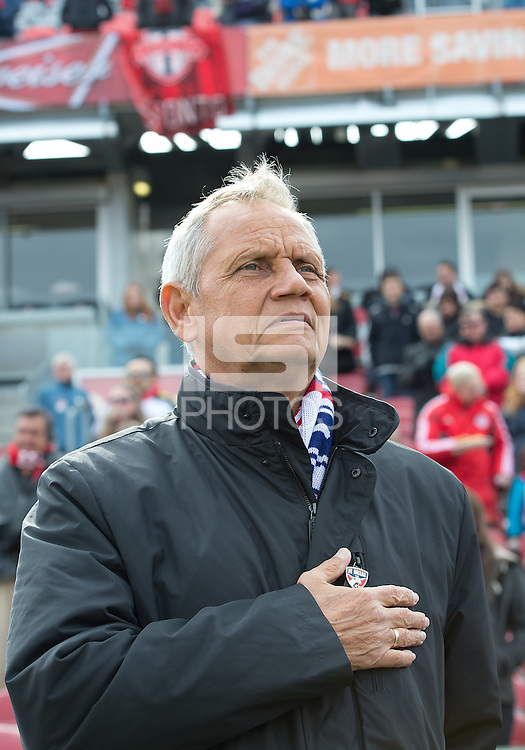 06 April 2013: FC Dallas head coach Schellas Hyndman during the national anthems in an MLS game between FC Dallas and Toronto FC at BMO Field in Toronto, Ontario Canada..The game ended in a 2-2 draw..