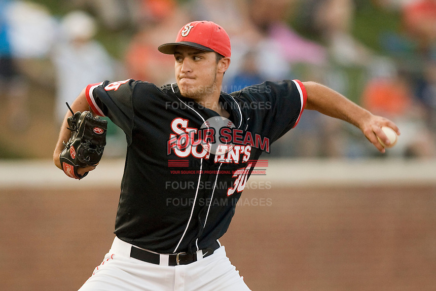 Sean Hagan #30 of the St. John's Red Storm pitches in relief against the Virginia Cavaliers in the championship game of the Charlottesville Regional at Davenport Field on June 7, 2010, in Charlottesville, Virginia.  The Cavaliers defeated the Red Storm 5-3.  Photo by Brian Westerholt / Four Seam Images
