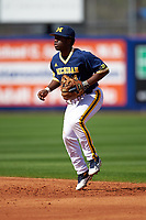 Michigan Wolverines second baseman Ako Thomas (4) during the second game of a doubleheader against the Canisius College Golden Griffins on February 20, 2016 at Tradition Field in St. Lucie, Florida.  Michigan defeated Canisius 3-0.  (Mike Janes/Four Seam Images)