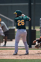 Oakland Athletics second baseman Ryan Gridley (26) at bat during an Extended Spring Training game against the San Francisco Giants Orange at the Lew Wolff Training Complex on May 29, 2018 in Mesa, Arizona. (Zachary Lucy/Four Seam Images)