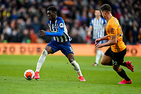 7th March 2020; Molineux Stadium, Wolverhampton, West Midlands, England; English Premier League, Wolverhampton Wanderers versus Brighton and Hove Albion; Yves Bissouma of Brighton & Hove Albion pushes the ball wide to create space