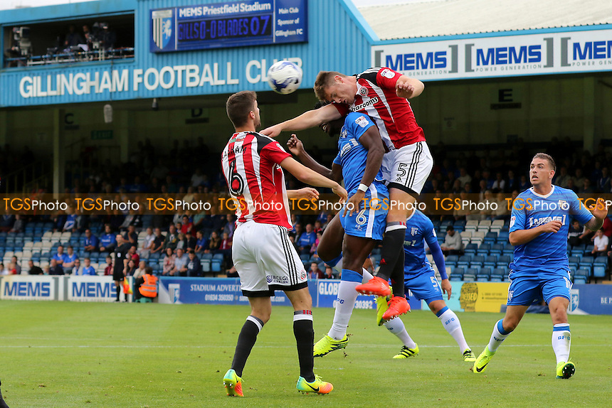 Sheffield United's Jack O'Connell heads the ball away during Gillingham vs Sheffield United, Sky Bet EFL League 1 Football at the MEMS Priestfield Stadium on 4th September 2016