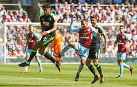 Burnley's Aaron Lennon battles with Bournemouth's Andrew Surman and Tyrone Mings<br /> <br /> Photographer Alex Dodd/CameraSport<br /> <br /> The Premier League - Burnley v Bournemouth - Sunday 13th May 2018 - Turf Moor - Burnley<br /> <br /> World Copyright &copy; 2018 CameraSport. All rights reserved. 43 Linden Ave. Countesthorpe. Leicester. England. LE8 5PG - Tel: +44 (0) 116 277 4147 - admin@camerasport.com - www.camerasport.com
