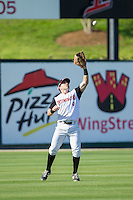 Kannapolis Intimidators left fielder Kale Kiser (9) catches a fly ball during the game against the Hickory Crawdads at CMC-Northeast Stadium on May 4, 2014 in Kannapolis, North Carolina.  The Intimidators defeated the Crawdads 3-1.  (Brian Westerholt/Four Seam Images)