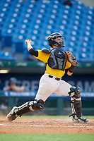 Christopher Katz (21) of Heritage High School in Raleigh, NC during the Perfect Game National Showcase at Hoover Metropolitan Stadium on June 17, 2020 in Hoover, Alabama. (Mike Janes/Four Seam Images)