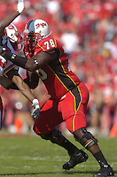 "21 October 2006:  Maryland 6' 9"" 350 lb. tackle Jared Gaither (78).  The Maryland Terapins defeated the N.C. State Wolfpack 26-20 October 21, 2006 at Chevy Chase Bank Field at Byrd Stadium in College Park, MD."