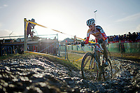 Kevin Pauwels (BEL) vs the mud<br /> <br /> 2014 Noordzeecross<br /> Elite Men
