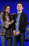 """Gabrielle Carrubba with Andrew Barth Feldman takes his final """"Dear Evan Hansen"""" bows and """"Passes the Polo"""" to Jordan Fisher at the Music Box Theatre on January 26, 2020 in New York City."""