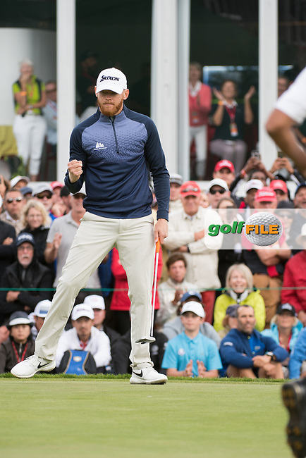 Sebastian Soderberg (SWE) made birdie on the 18th hole during five players playoff of the final round at the Omega European Masters, Golf Club Crans-sur-Sierre, Crans-Montana, Valais, Switzerland. 01/09/19.<br /> Picture Stefano DiMaria / Golffile.ie<br /> <br /> All photo usage must carry mandatory copyright credit (© Golffile | Stefano DiMaria)