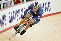 19 FEB 2012 - LONDON, GBR - France's Kevin Sireau (FRA) attempts to qualify for the Men's Sprint during the UCI Track Cycling World Cup and London Prepares test event for the 2012 Olympic Games, in the Olympic Park Velodrome in Stratford, London, Great Britain .(PHOTO (C) 2012 NIGEL FARROW)