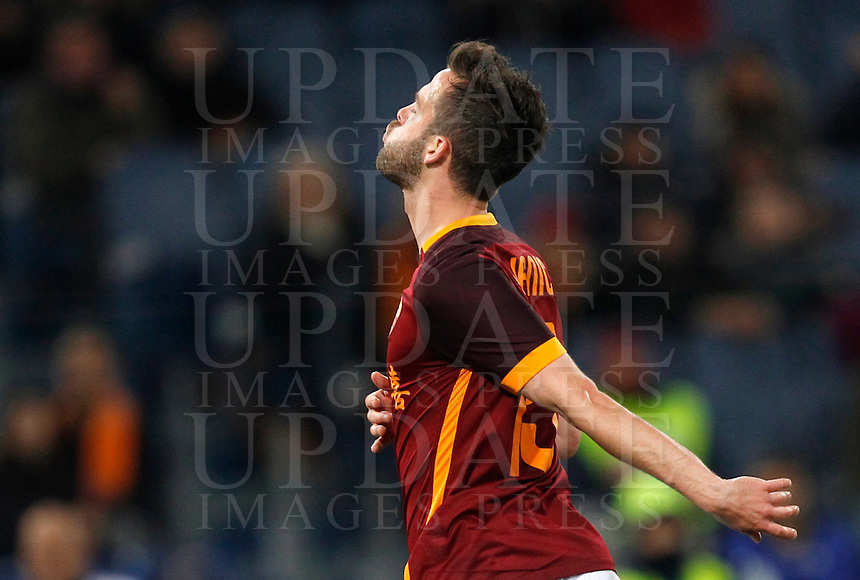 Calcio, Serie A: Roma vs Sampdoria. Roma, stadio Olimpico, 7 febbraio 2016.<br /> Roma&rsquo;s Miralem Pjanic reacts after missing a scoring chance during the Italian Serie A football match between Roma and Sampdoria at Rome's Olympic stadium, 7 January 2016.<br /> UPDATE IMAGES PRESS/Riccardo De Luca