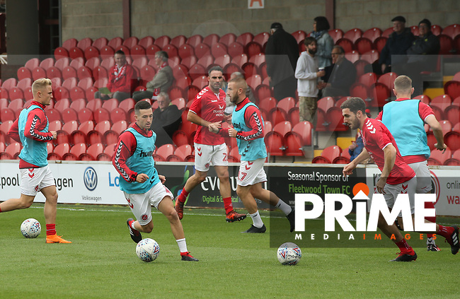Fleetwood Town players warming up  ahead of the Sky Bet League 1 match between Fleetwood Town and Rochdale at Highbury Stadium, Fleetwood, England on 18 August 2018. Photo by Stephen Gaunt / PRiME Media Images.