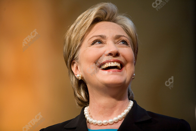 Senator Hillary Clinton (D-NY) concedes the nomination contest to Senator Barak Obama (D-IL) during a speech to her supporters at the National Building Museum. Washington, D.C., June 7, 2008.