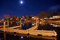 A view of Wickford cove at night.