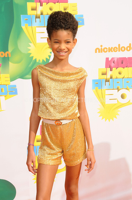 WWW.ACEPIXS.COM . . . . . ....April 2 2011, Los Angeles....Singer Willow Smith arriving at Nickelodeon's 24th Annual Kids' Choice Awards at Galen Center on April 2, 2011 in Los Angeles, CA....Please byline: PETER WEST - ACEPIXS.COM....Ace Pictures, Inc:  ..(212) 243-8787 or (646) 679 0430..e-mail: picturedesk@acepixs.com..web: http://www.acepixs.com