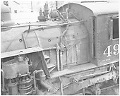 Detail of K-37 #493 - external firebox, cab, compound air pump.<br /> D&amp;RGW  Durango, CO  Taken by Morse, Ron - 5/25/1965