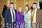 DINNER: Enjoying the Lee Strand annual social at the Ballygarry House hotel and Spa on Saturday l-r: George Marshell, Eileen Davis and Juliette and Kevin McGovern.