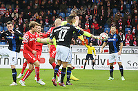Lars Unnerstall (Fortuna) klaert mit Flugeinlage - FSV Frankfurt vs. Fortuna Düsseldorf, Frankfurter Volksbank Stadion