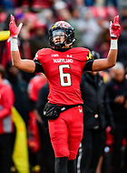 College Park, MD - OCT 27, 2018: Maryland Terrapins wide receiver Jeshaun Jones (6) celebrates his second touchdown of the game early in the third quarter of game between Maryland and Illinois at Capital One Field at Maryland Stadium in College Park, MD. The Terrapins defeated Illinois to move to 5-3 on the season. (Photo by Phil Peters/Media Images International)