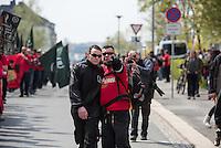 """Ca. 1000 Nazis aus ganz Deutschland marschierten am Sonntag den 1. Mai 2016 im Saeschsichen Plauen auf. Die Naziorganisation 3.Weg hatte den Marsch angemeldet. Etliche Nazis waren dabei vermummt und zeigten auch den Hitlergruss, die Polizei schritt jedoch nicht ein.<br /> Nach der Haelfte der Marschroute beendeten die Nazis ihre Demonstration, da die Polizei die Marschroute verkuerzen wollte. Sie forderten die Polizei auf den Weg freizugeben. Danach griffen Aufmarschteilnehmer die Polizei an, die daraufhin Wasserwerfer, Pfefferspray, Traenengas und Schlagstoecke einsetzte. Mehrere Gruppen Nazis zogen danach durch Plauen und jagten Menschen.<br /> Nach einer Stunde bekamen die Nazis einen erneuten Aufmarsch von der Polizei genehmigt und zogen zurueck zum Bahnhof.<br /> Rechts im Bild: David Linke aus Berlin, ehem. """"Nationaler Widerstand Berlin"""", NW-Berlin.<br /> 1.5.2016, Plauen<br /> Copyright: Christian-Ditsch.de<br /> [Inhaltsveraendernde Manipulation des Fotos nur nach ausdruecklicher Genehmigung des Fotografen. Vereinbarungen ueber Abtretung von Persoenlichkeitsrechten/Model Release der abgebildeten Person/Personen liegen nicht vor. NO MODEL RELEASE! Nur fuer Redaktionelle Zwecke. Don't publish without copyright Christian-Ditsch.de, Veroeffentlichung nur mit Fotografennennung, sowie gegen Honorar, MwSt. und Beleg. Konto: I N G - D i B a, IBAN DE58500105175400192269, BIC INGDDEFFXXX, Kontakt: post@christian-ditsch.de<br /> Bei der Bearbeitung der Dateiinformationen darf die Urheberkennzeichnung in den EXIF- und  IPTC-Daten nicht entfernt werden, diese sind in digitalen Medien nach §95c UrhG rechtlich geschuetzt. Der Urhebervermerk wird gemaess §13 UrhG verlangt.]"""